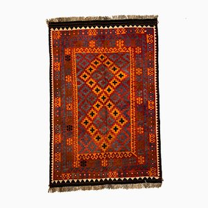 Large Vintage Afghan Red, Orange, Brown & Black Tribal Wool Kilim Rug, 1960s