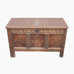 Oak Coffer with Carved Panels, 1700s
