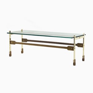 Italian Brass and Rosewood Coffee Table by Santambrogio & De Berti, 1960s