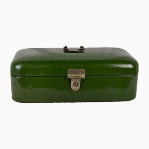Green Enameled Metal Bread Basket, 1950s