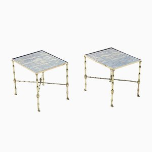 Mirror Brass Sofa End Tables from Maison Jansen, 1970s, Set of 2