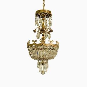Lampada da soffitto vintage in ottone e cristallo, anni '30