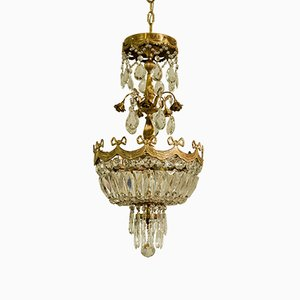 Vintage Empire Style Rose Brass and Crystal Balloon Ceiling Lamp, 1930s