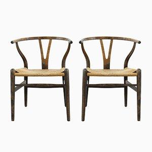 Mid-Century Modell CH24 Wishbone Esszimmerstühle von Hans J. Wegner für Carl Hansen & Søn, 2er Set