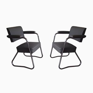 Bauhaus Chrome and Plastic Armchairs from Bienaise, 1940s, Set of 2