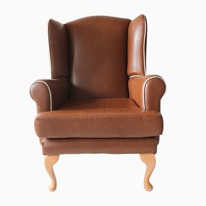 Vintage Brown Faux Wingback Armchairs, 1960s, Set of 2