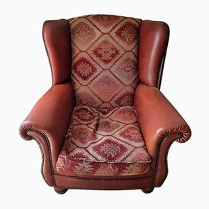 Brown Leather and Tapestry Wingback Armchair on Wooden Bun Feet from Tetrad, 1930s