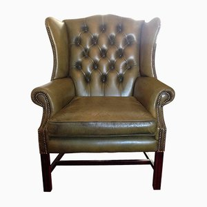 Antique Green Leather Wingback Chesterfield Armchair with Studded Details