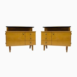 Mid-Century Chest of Drawers with Black Glass, 1950s, Set of 2