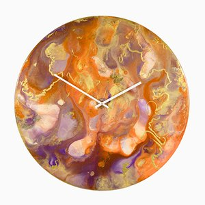 Horloge Murale Orange et Dorée avec Éclairage, Très Grande Horloge Murale avec Éclairages par Craig Anthony