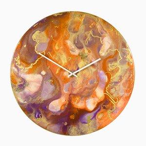 Wanduhr in Orange & Gold mit Beleuchtung, Große Wanduhr von Craig Anthony