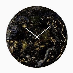 Très Grande Horloge Moderne Murale Luminaire Mural Noir et Doré par Craig Anthony