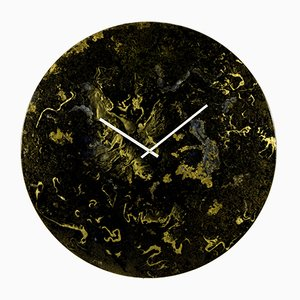 Horloge Murale Oversize Noire et Dorée en Verre avec Éclairage par Craig Anthony