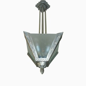 Art Deco Floral and Geometric Ceiling Lamp, 1920s