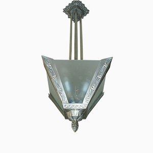 Lampada da soffitto Art Deco con motivo floreale e geometrico, anni '20