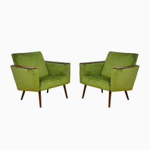 Mid-Century Velour Armchairs, 1960s, Set of 2