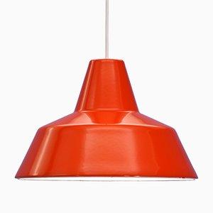 Dänische Rote Emaillierte Deckenlampe von Louis Poulsen, 1970er