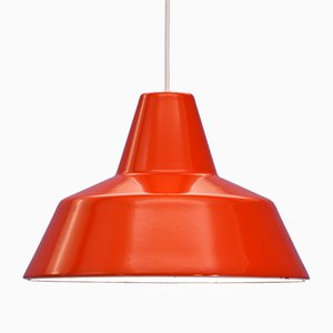 Danish Red Enamel Ceiling Lamp from Louis Poulsen, 1970s