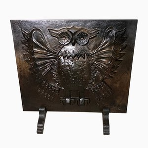 Cast Iron Owl Fireback from Lucas, 1970s