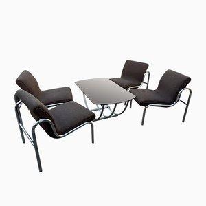Ungarisches Verchromtes Metall Tisch- und Esszimmer Set, 1960er, 5er Set
