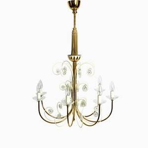 Large Mid-Century Brass 7-Arm Chandelier from Vereinigte Werkstätten Collection, 1950s