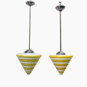 Vintage Bauhaus Deckenlampen aus Glas und Chrom, 2er Set