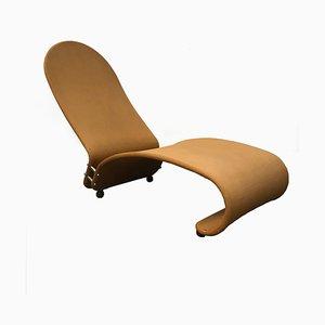 Chaise longue serie 1-2-3 in tessuto ocra di Verner Panton, anni '70