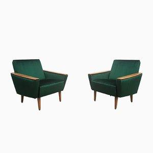 Mid-Century Danish Royal Green Velvet Armchairs, 1960s, Set of 2
