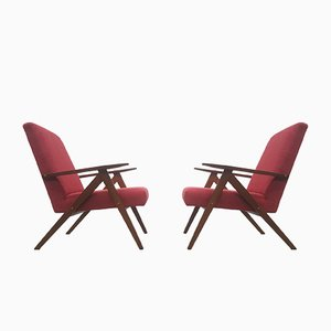Mid-Century Polish Red Model B-310 VAR Easy Chairs, 1960s, Set of 2