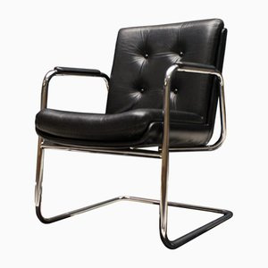 Italian Tubular Steel and Leather Cantilever Armchair, 1970s