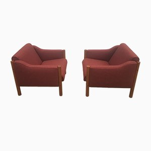 Mid-Century Danish Burgundy Wool and Teak Armchairs, 1970s, Set of 2