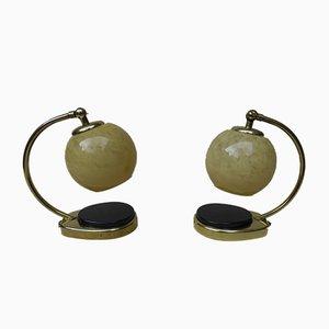 Glas und Messing Tischlampen von Marianne Brandt, 1950er, 2er Set