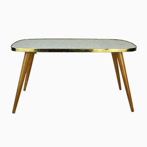 German Rectangular White and Gold Side Table, 1950s