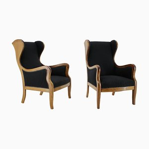 Mahogany Wingback Armchairs by Frits Henningsen, Denmark, 1940s, Set of 2
