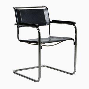 Moderner S34 Chair aus schwarzem Leder von Mart Stam für Thonet, 2014