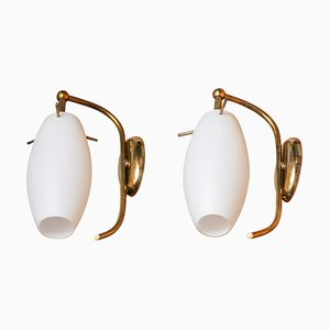 Wall Lights with Opaline Shades or Vases from Stilnovo, Italy, 1950s, Set of 2