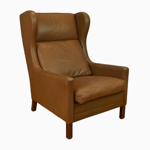 MId-Century Brown Leather Wingback Lounge Armchair, 1970s