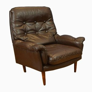 Mid-Century Danish Buttoned Brown Leather Lounge Armchair, 1970s