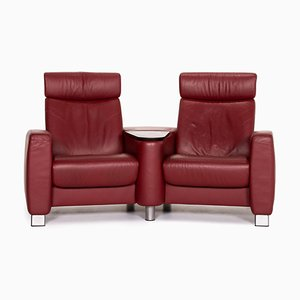 Red Leather Arion 2-Seat Function Sofa from Stressless