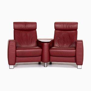 Rotes Arion 2-Sitzer Leder Funktions-Sofa von Stressless