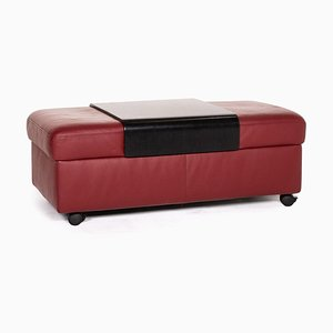 Red Leather Arion Feature Storage Space Stool from Stressless