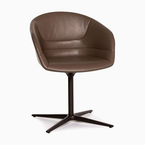Grey Leather Kyo Swivel Armchair from Walter Knoll
