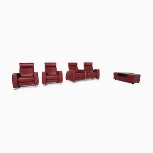 Red Leather Arion 2-Seat Sofa, Armchairs & Stool Set from Stressless, Set of 4