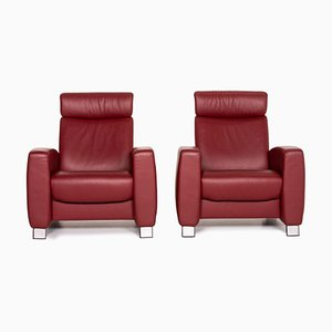 Red Leather Arion Function Armchairs from Stressless, Set of 2