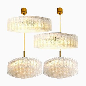 Glass and Brass Light Fixtures from Doria Leuchten, Germany, 1960s, Set of 4