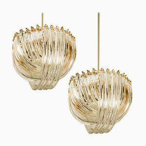 Curved Crystal Glass and Gilt Brass Light Fixtures from Venini, Italy, 1970s, Set of 2