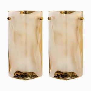 Wandlampen aus Messing und Mundgeblasenem Murano Glas von JT Kalmar, 1960er, 2er Set
