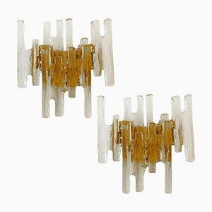 Eisglas Wandlampen von JT Kalmar, Österreich, 1960er, 2er Set