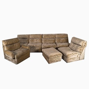 Mid-Century Off-White and Green Velvet 7-Modular Sofa