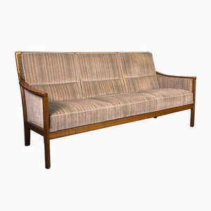 Mid-Century Scandinavian Velvet Sofa in the Style of Knoll